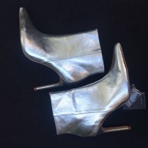 Zara Metallic Ankle Boots Silver Pointed Toe